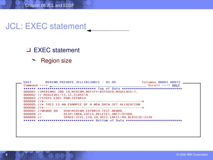 JCL: EXEC statement
