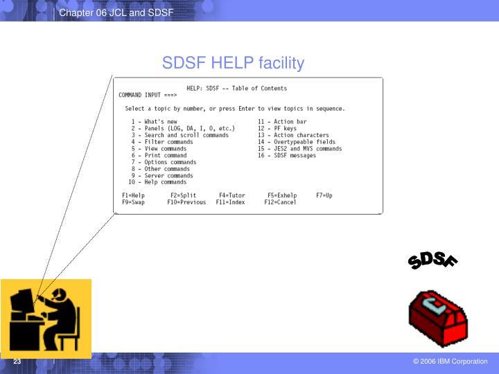 SDSF HELP facility