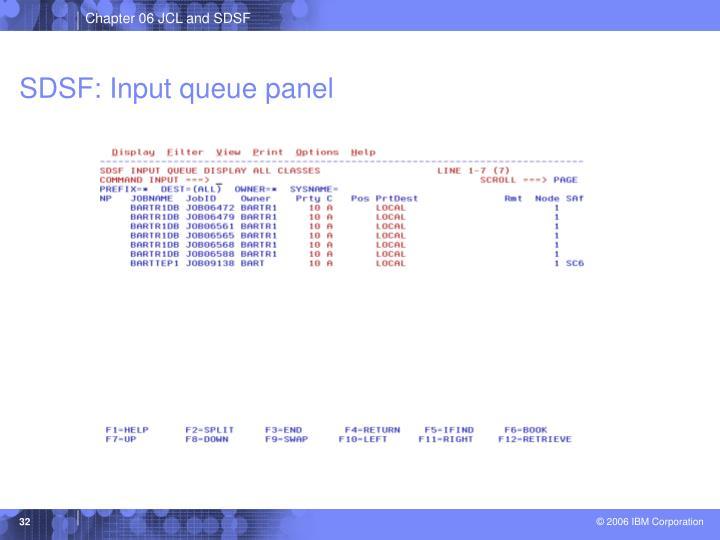 SDSF: Input queue panel