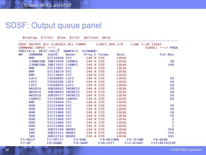 SDSF: Output queue panel