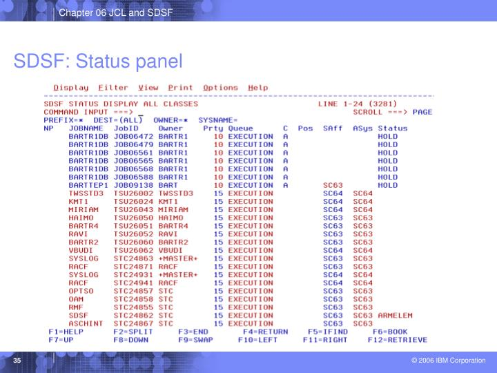SDSF: Status panel