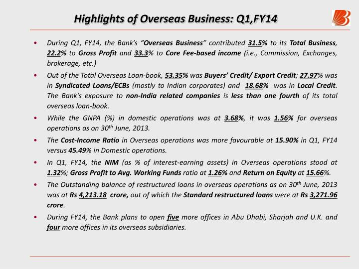 Highlights of Overseas Business: Q1,FY14