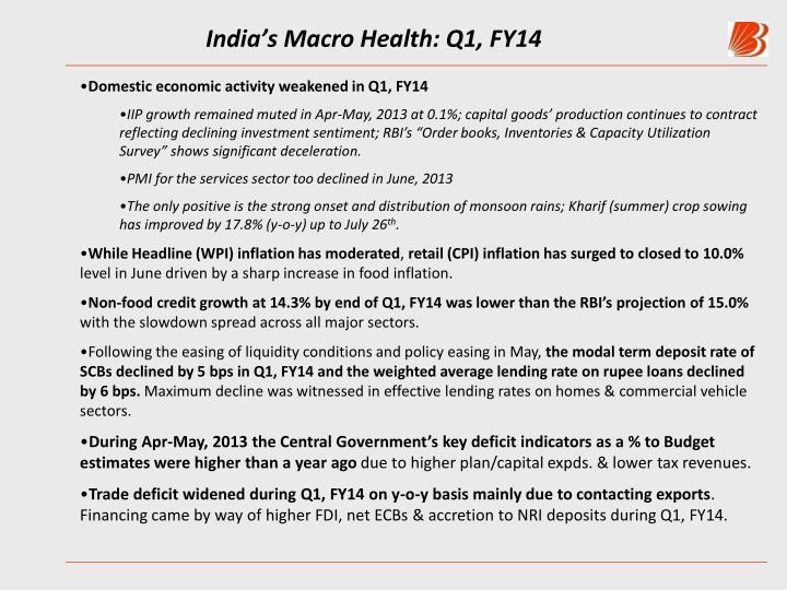 India's Macro Health: Q1, FY14
