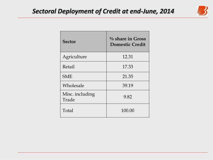 Sectoral Deployment of Credit at end-June, 2014