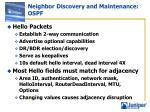 neighbor discovery and maintenance ospf