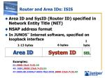 router and area ids isis
