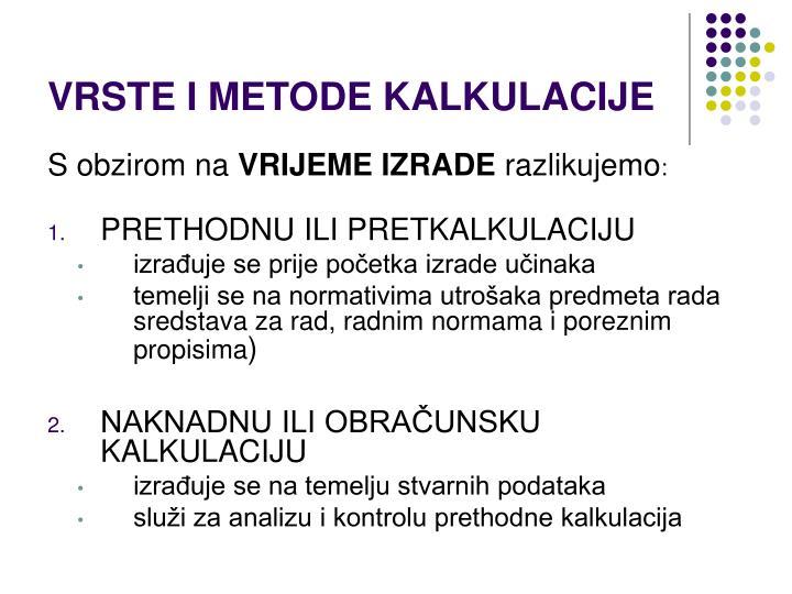 VRSTE I METODE KALKULACIJE