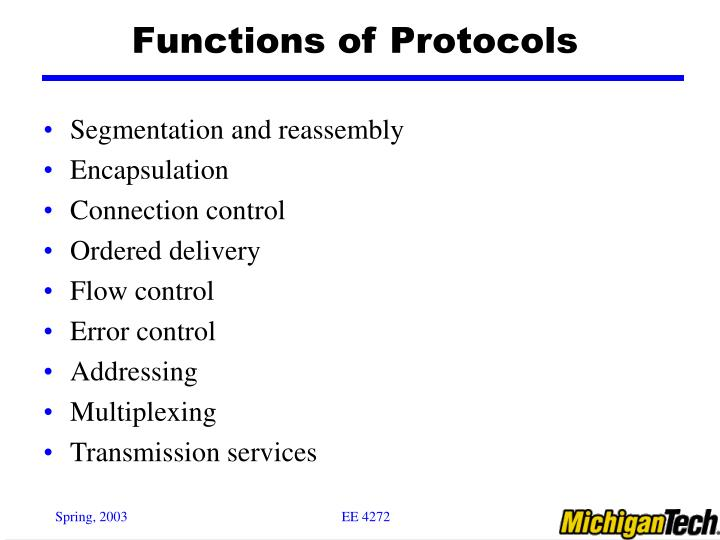 Functions of protocols