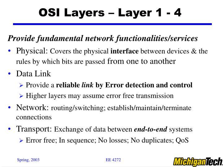 OSI Layers – Layer 1 - 4