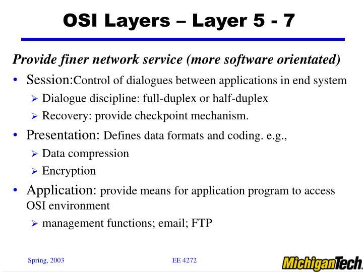OSI Layers – Layer 5 - 7
