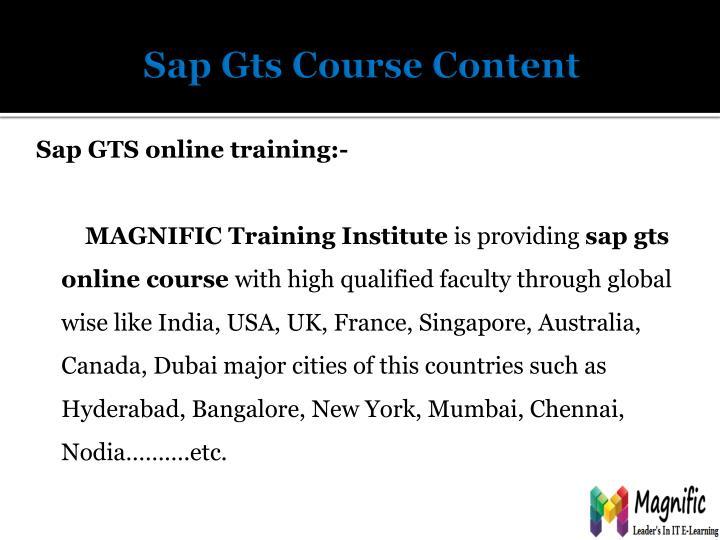 Sap g ts course content
