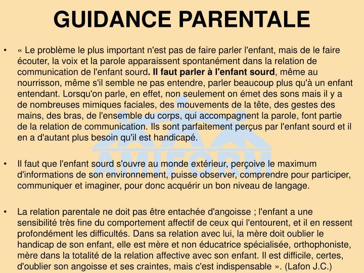 GUIDANCE PARENTALE