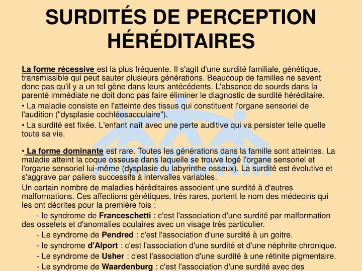 SURDITÉS DE PERCEPTION HÉRÉDITAIRES