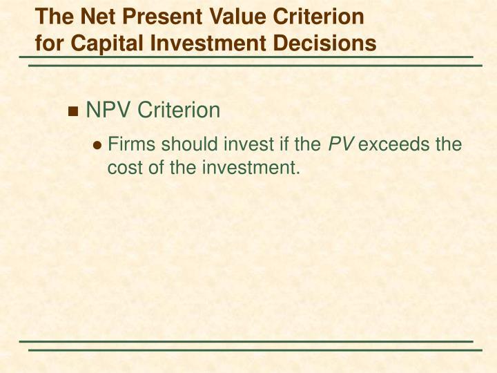 The Net Present Value Criterion