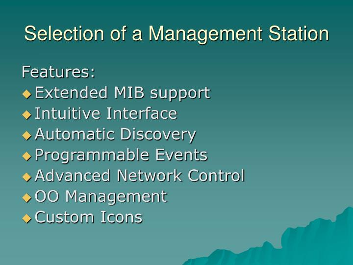 Selection of a Management Station
