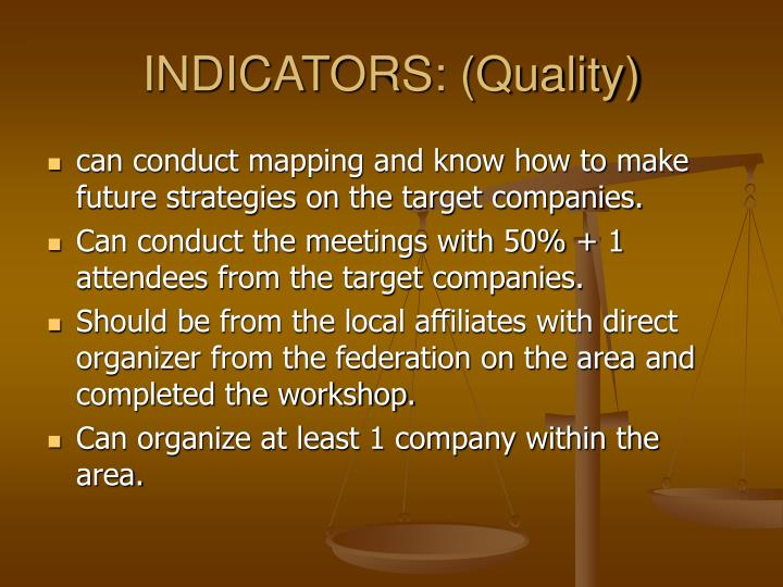 INDICATORS: (Quality)