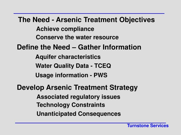 The Need - Arsenic Treatment Objectives