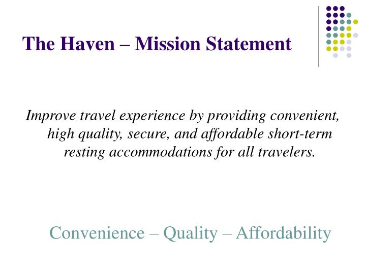 The Haven – Mission Statement