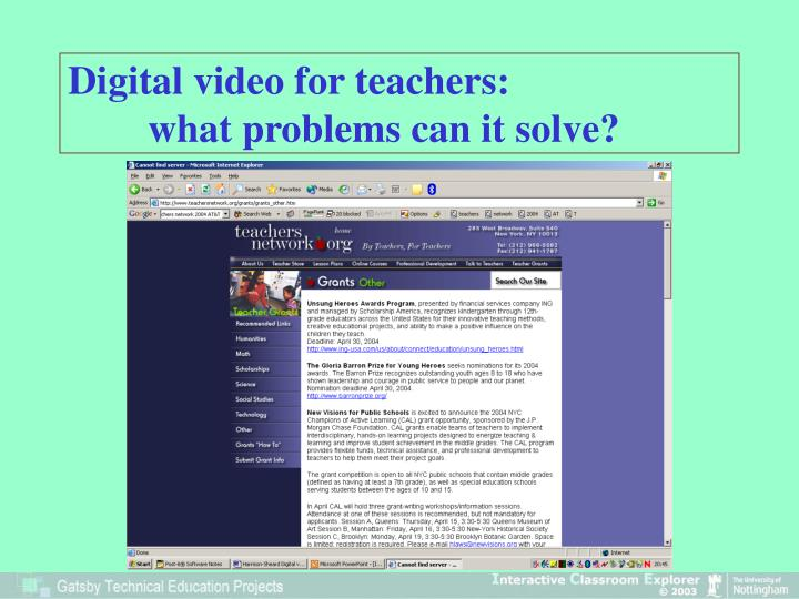 Digital video for teachers what problems can it solve