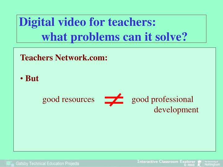 Digital video for teachers: what problems can it solve?