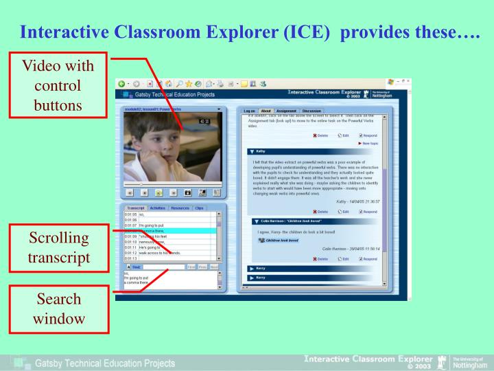 Interactive Classroom Explorer (ICE)  provides these….