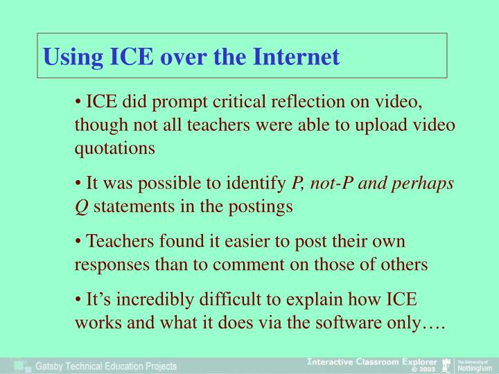 Using ICE over the Internet