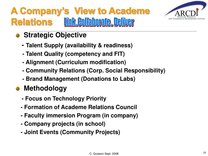 A Company's  View to Academe Relations