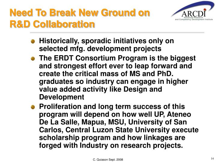 Need To Break New Ground on R&D Collaboration