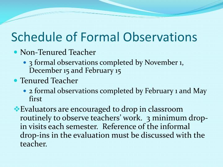 formal teacher observation essay Sample completed summative report form for a secondary teacher page 1 of 6 sample completed summative report form for a secondary classroom observation.