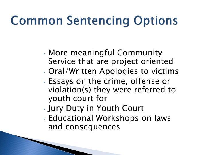 Common Sentencing Options