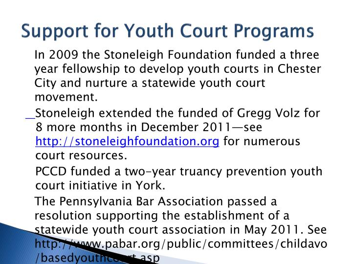 Support for Youth Court Programs