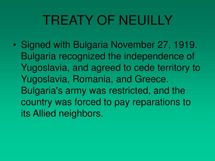 TREATY OF NEUILLY