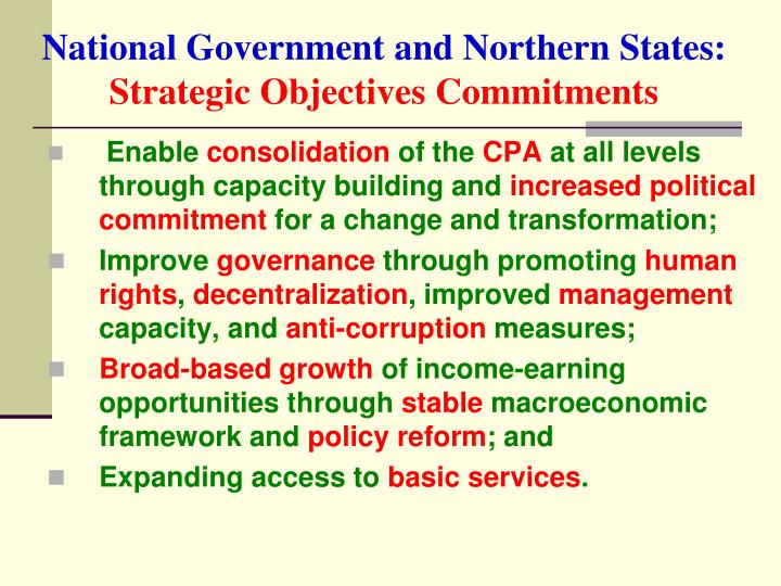 National Government and Northern States: