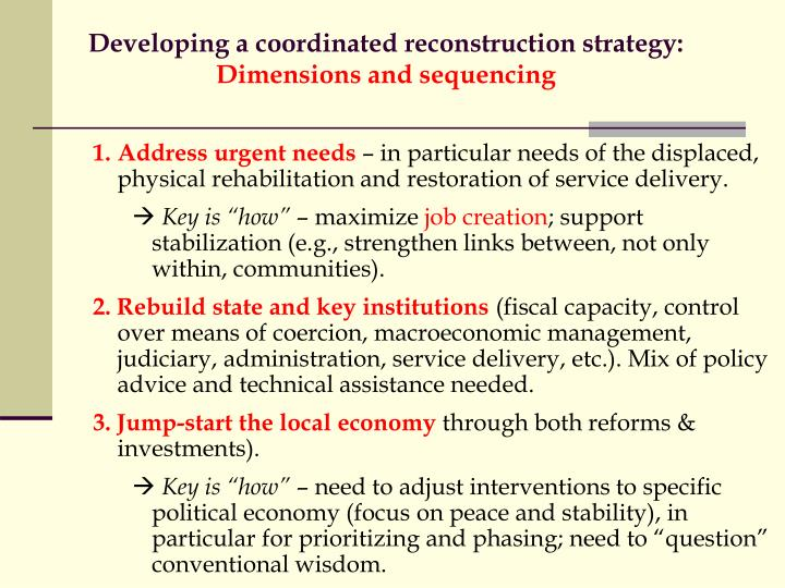 Developing a coordinated reconstruction strategy: