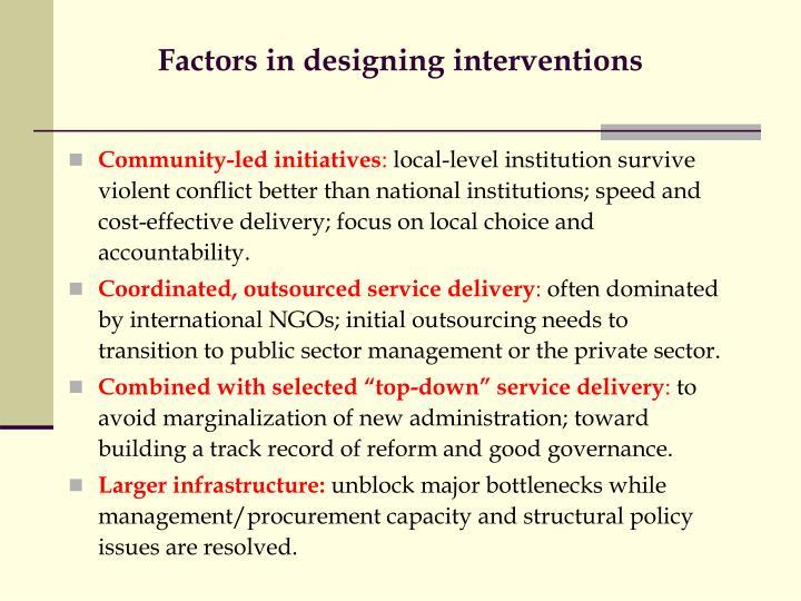 Factors in designing interventions