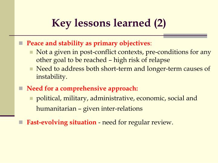 Key lessons learned (2)