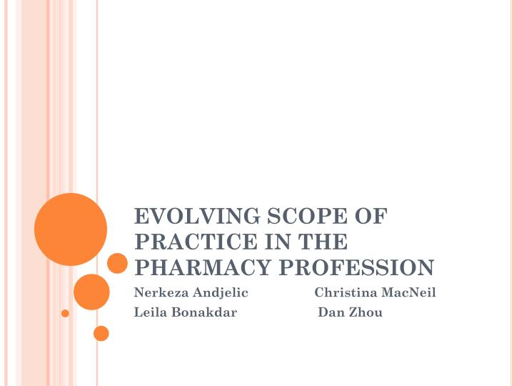 evolving scope of practice in the pharmacy profession n.