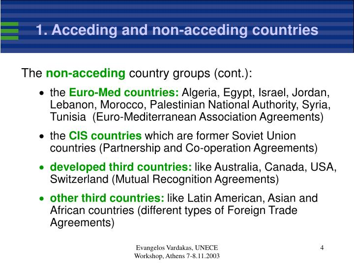 1. Acceding and non-acceding countries