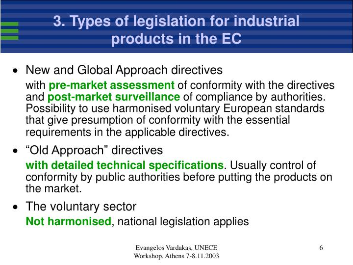 3. Types of legislation for industrial products in the EC