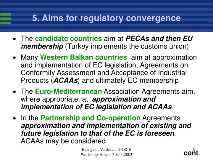 5. Aims for regulatory convergence