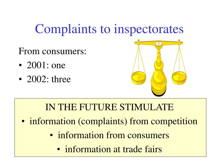 Complaints to inspectorates