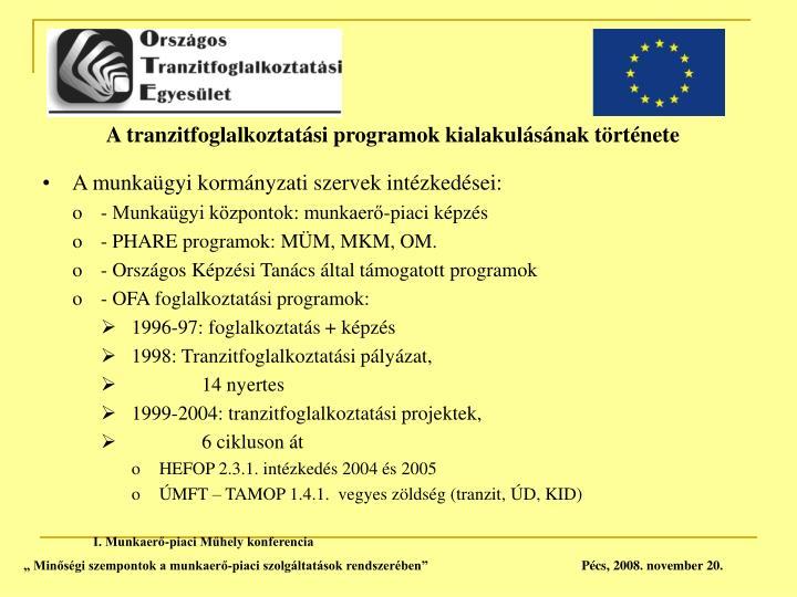 A tranzitfoglalkoztatási programok kialakulásának története