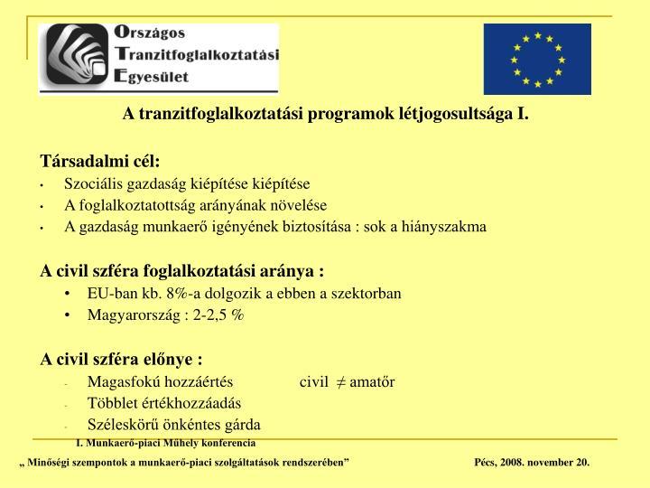 A tranzitfoglalkoztatási programok létjogosultsága I.