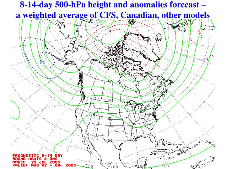 8-14-day 500-hPa height and anomalies forecast –