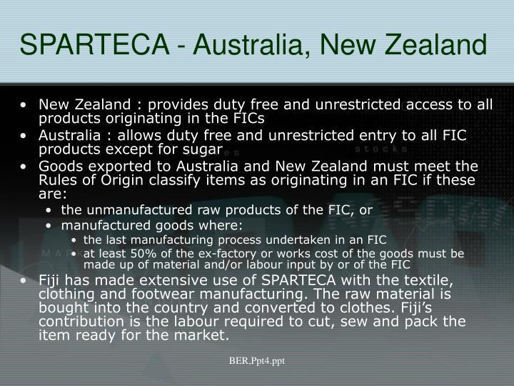 SPARTECA - Australia, New Zealand