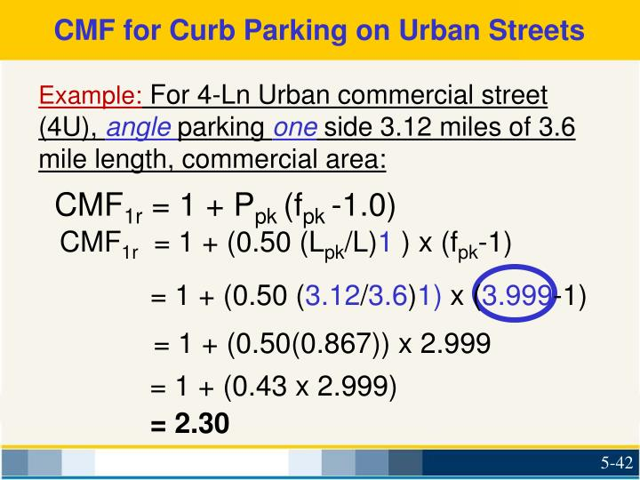 CMF for Curb Parking on Urban Streets