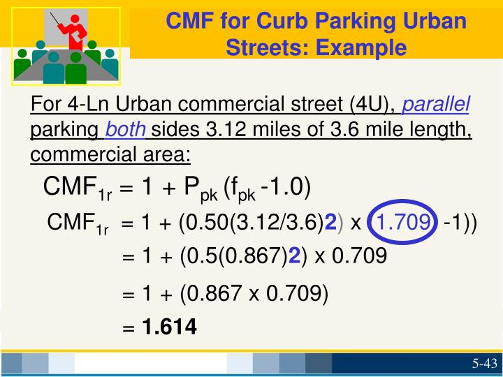CMF for Curb Parking Urban Streets: Example