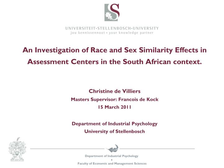 An Investigation of Race and Sex Similarity Effects in