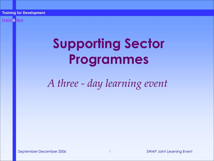 supporting sector programmes n.