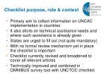 checklist purpose role context